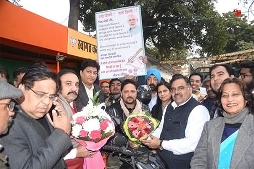 Dheeraj Pandit launches bike rally from Mumbai to Delhi in support of citizenship law