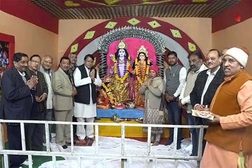 Public Relations Minister P.C. Sharma inaugurates the Ram temple tableau at Bhopal Utsav Mela