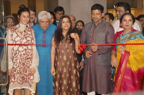 Bollywood Poet Javed Akhtar, Farhan akhtar, Shabana Azmi, Zoya Akhtar and Shibani Dandekar At his own painting exhibition and the Launch  Painting exhibition and the Launch of His special pen edition in Mumbai 20200115173955 IMG 4555