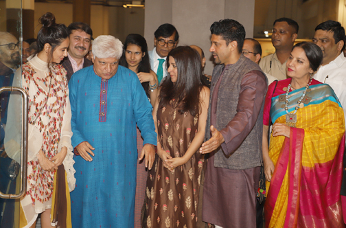 Bollywood Poet Javed Akhtar, Farhan akhtar, Shabana Azmi, Zoya Akhtar and Shibani Dandekar At his own painting exhibition and the Launch