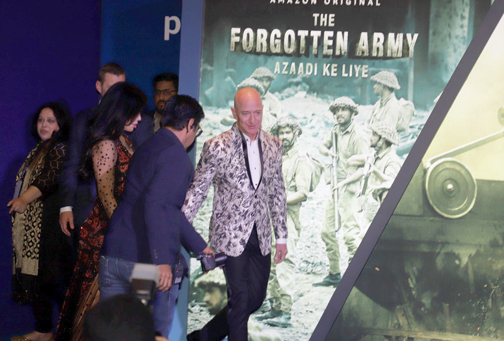 Amazon CEO Jeff Bezos along with his girlfriend arrives for a gathering with Bollywood industry