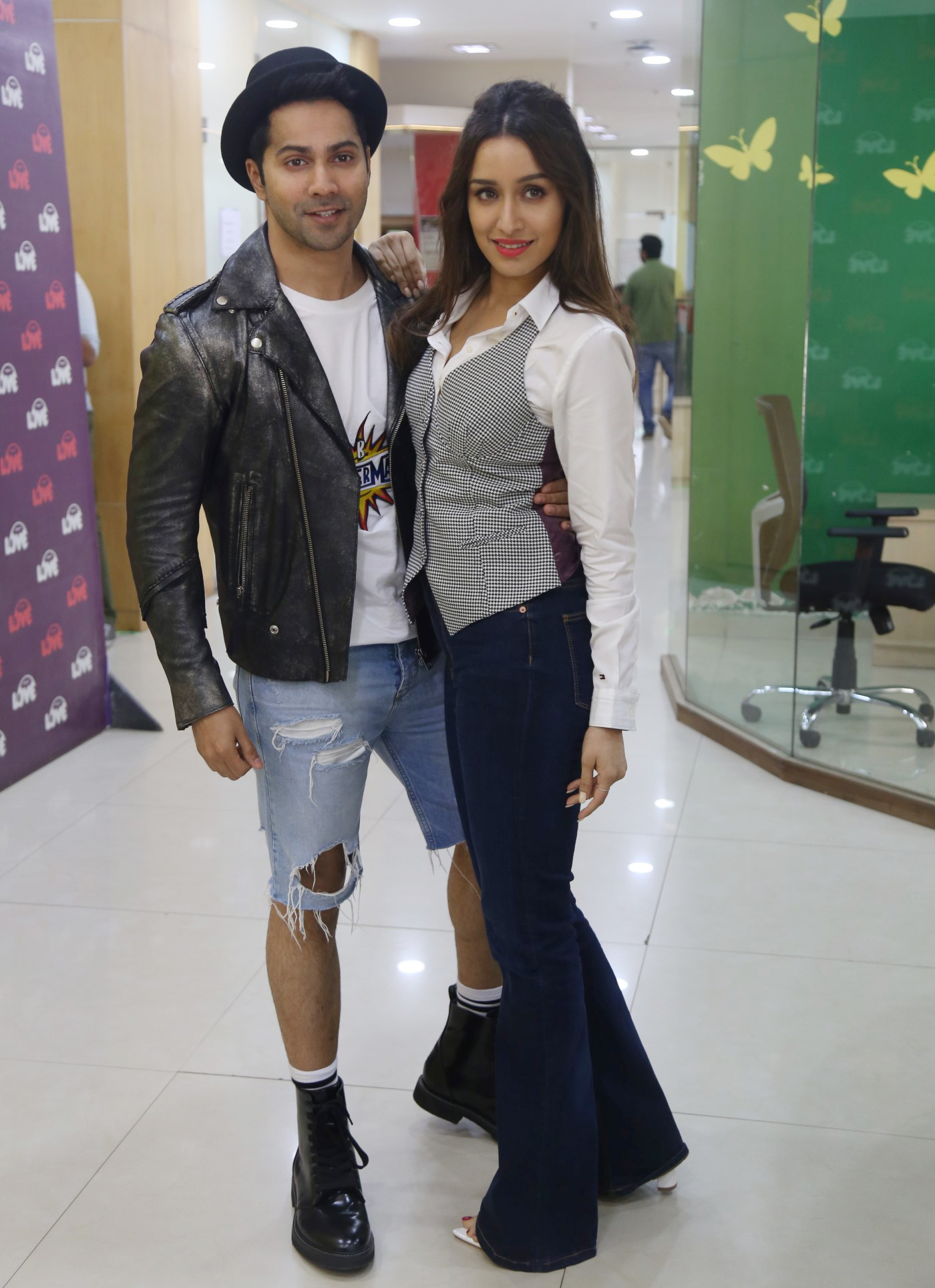 Bollywood actor Varun Dhawan and Shraddha Kapoor Pose for the Photograher during promoting their upcoming movie 'Street Dancer 3D'
