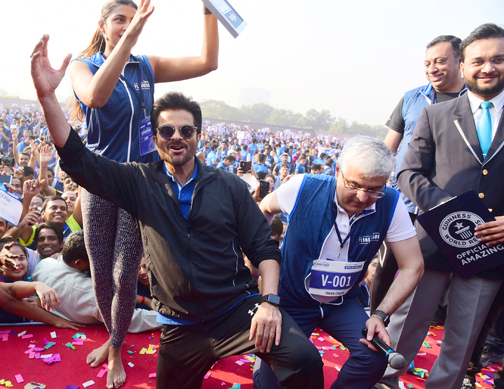 Bollywood Actor Anil Kapoor attends the Event of Bajaj Allianz life zeaful attempt to break their current 'Guinness World Record'   Anil Kapoor attends the Event of Bajaj Allianz life zeaful attempt to break – Bank of Bollywood DSC 5209