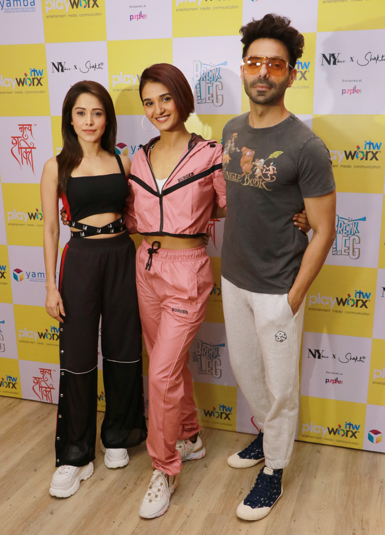 Bollywood actor Aparshkti Khurana & Nushrat Bharucha for episode shoot of Break A Leg Season 2 with host Shakti Mohan at Nritya Shakti Studio   Shoot of Break A Leg Season 2 host Shakti Mohan at Nritya Shakti Studio – Bank of Bollywood IMG 5474