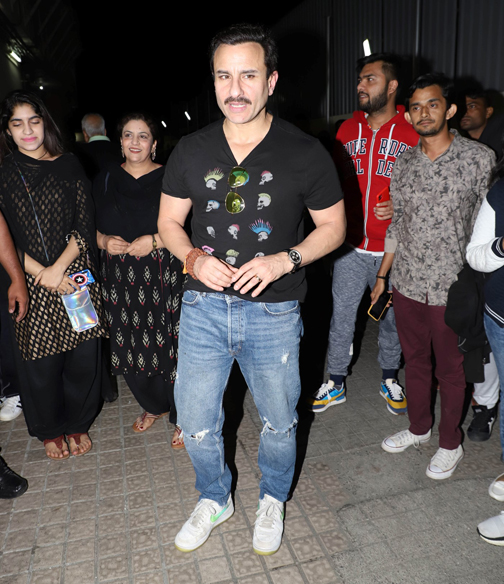 ollywood actors Kareena Kapoor & Saif Ali Khan poses during the screening of film Jaawani Jaaneman at PVR Juhu in Mumbai