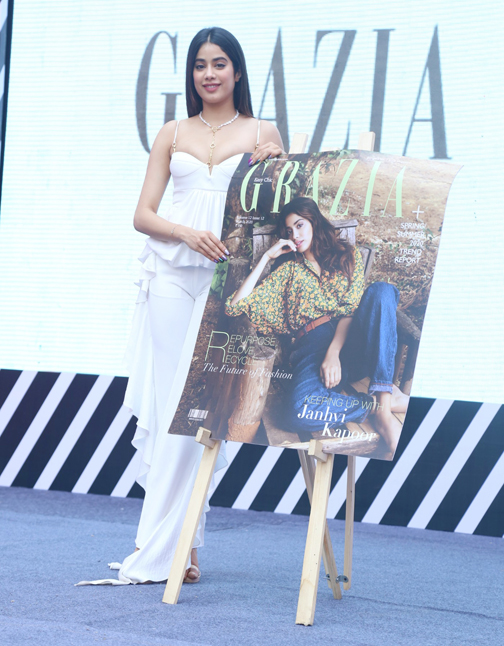 Beauty queen of Bollywood Janhavi Kapoor at unveiling of Grazia India March cover page